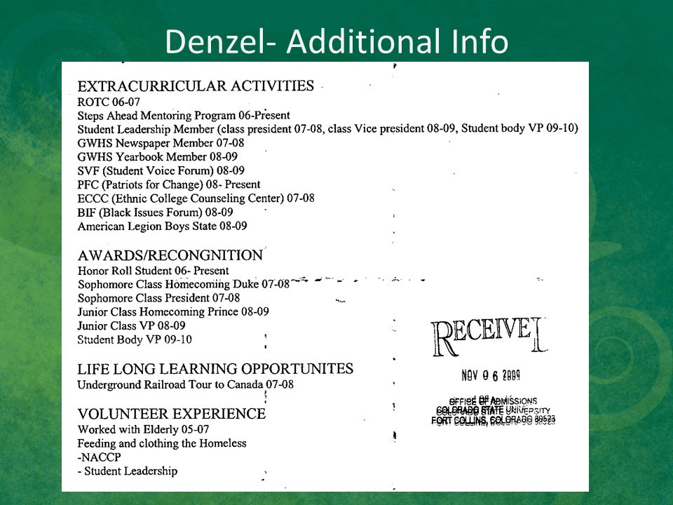 Denzel- Additional Info