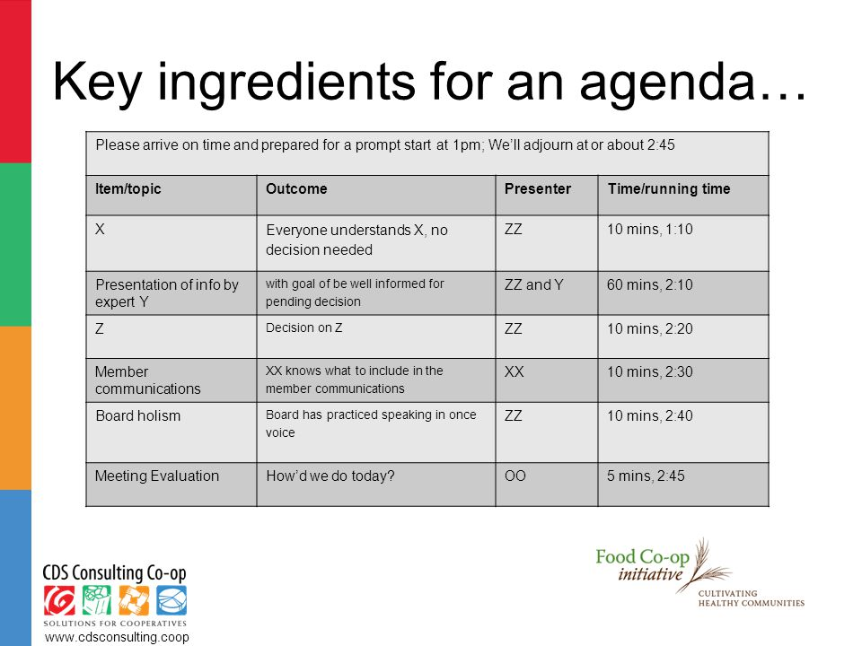 Key ingredients for an agenda… www.cdsconsulting.coop Please arrive on time and prepared for a prompt start at 1pm; We'll adjourn at or about 2:45 Item/topicOutcomePresenterTime/running time X Everyone understands X, no decision needed ZZ10 mins, 1:10 Presentation of info by expert Y with goal of be well informed for pending decision ZZ and Y60 mins, 2:10 Z Decision on Z ZZ10 mins, 2:20 Member communications XX knows what to include in the member communications XX10 mins, 2:30 Board holism Board has practiced speaking in once voice ZZ10 mins, 2:40 Meeting EvaluationHow'd we do today OO5 mins, 2:45