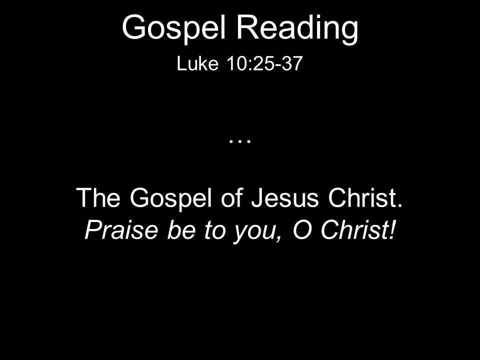 … The Gospel of Jesus Christ. Praise be to you, O Christ! Luke 10:25-37 Gospel Reading