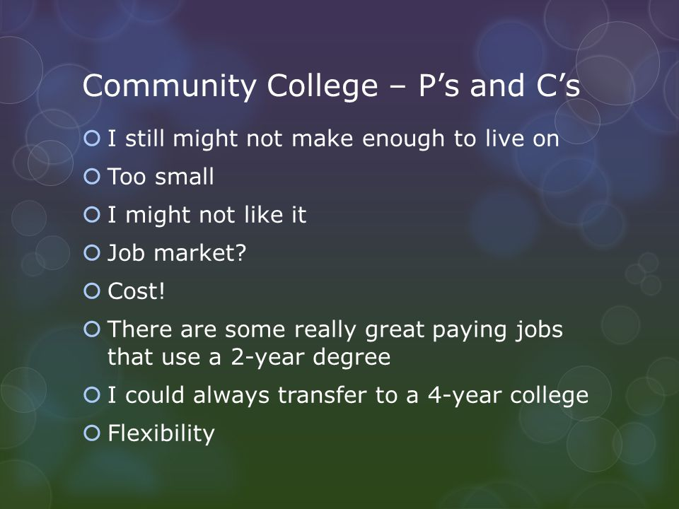 Community College – P's and C's  I still might not make enough to live on  Too small  I might not like it  Job market.