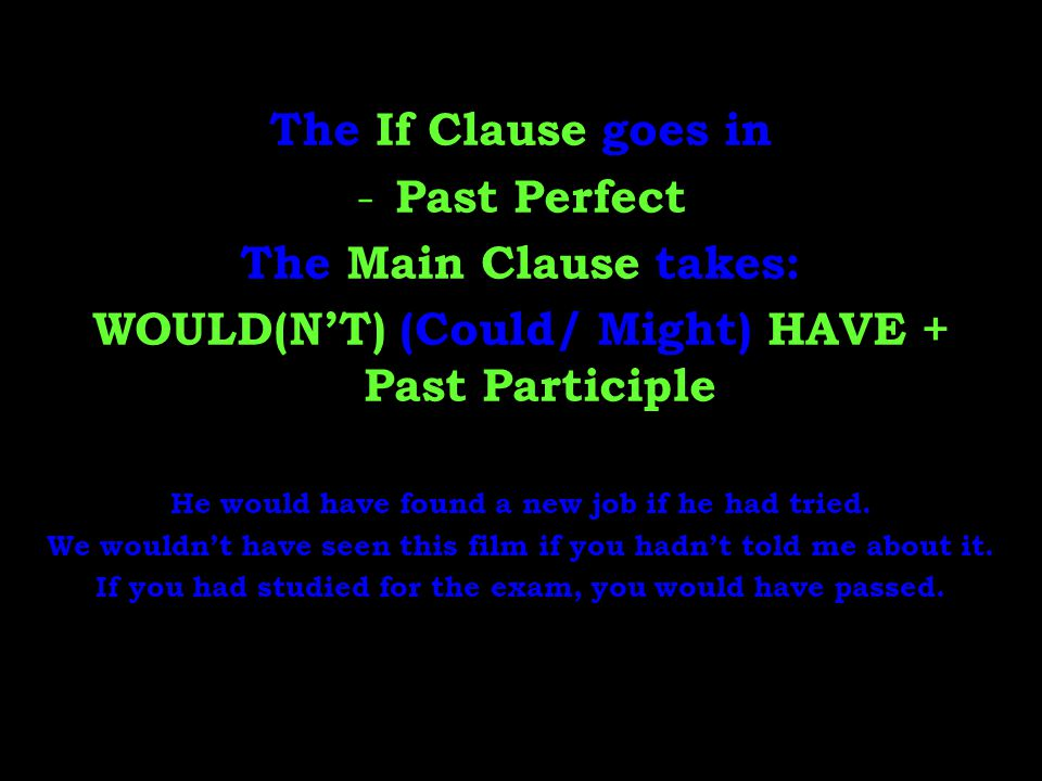 The If Clause goes in - Past Perfect The Main Clause takes: WOULD(N'T) (Could/ Might) HAVE + Past Participle He would have found a new job if he had t