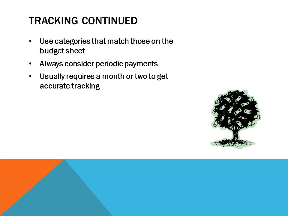 TRACKING CONTINUED Use categories that match those on the budget sheet Always consider periodic payments Usually requires a month or two to get accurate tracking