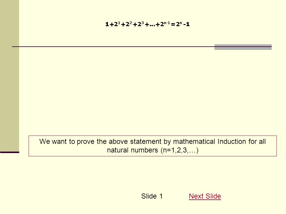We want to prove the above statement by mathematical Induction for all natural numbers (n=1,2,3,…) Next SlideSlide 1