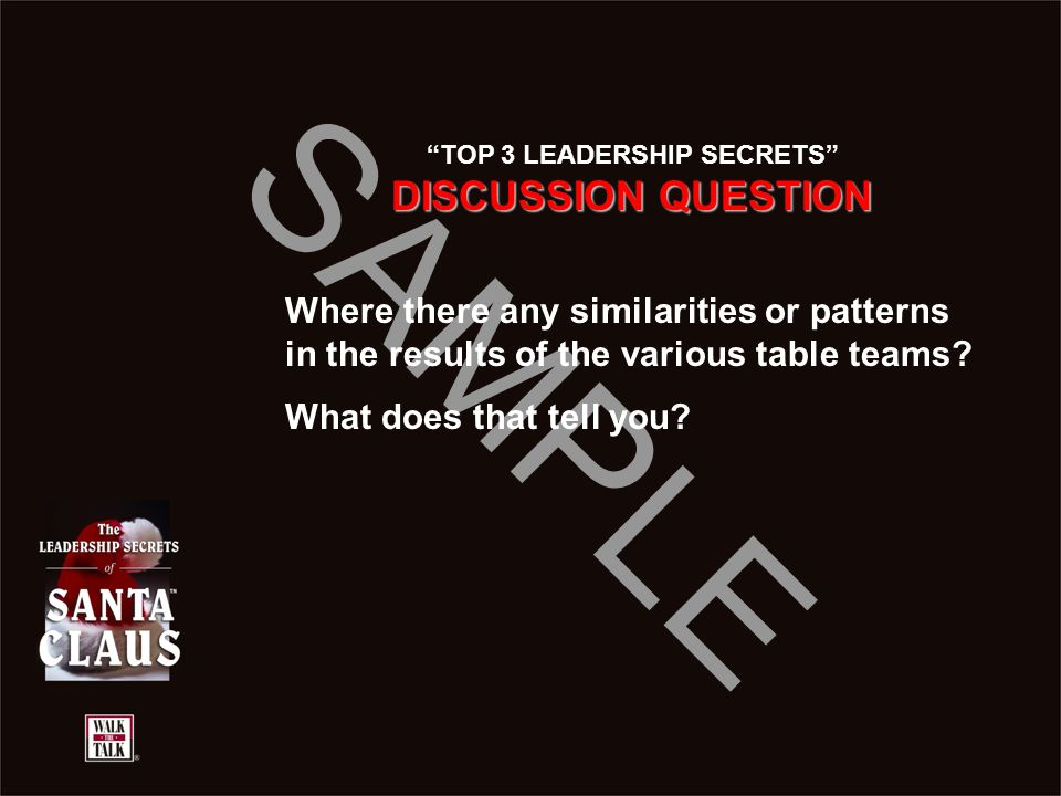 "SAMPLE ""TOP 3 LEADERSHIP SECRETS"" DISCUSSION QUESTION Where there any similarities or patterns in the results of the various table teams? What does th"