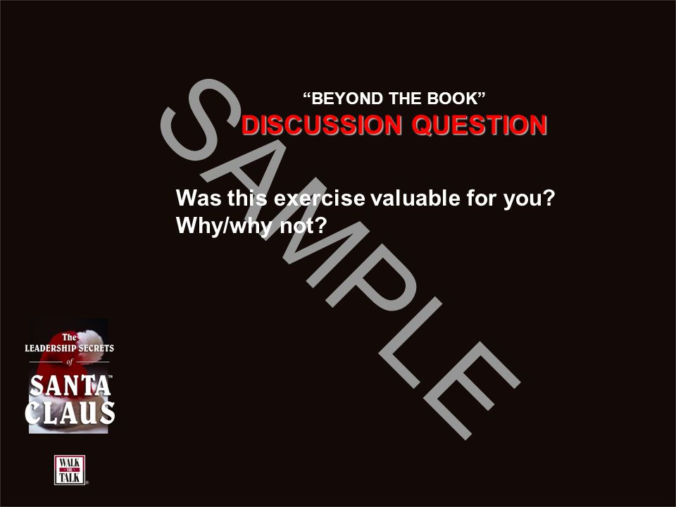 "SAMPLE ""BEYOND THE BOOK"" DISCUSSION QUESTION Was this exercise valuable for you? Why/why not?"