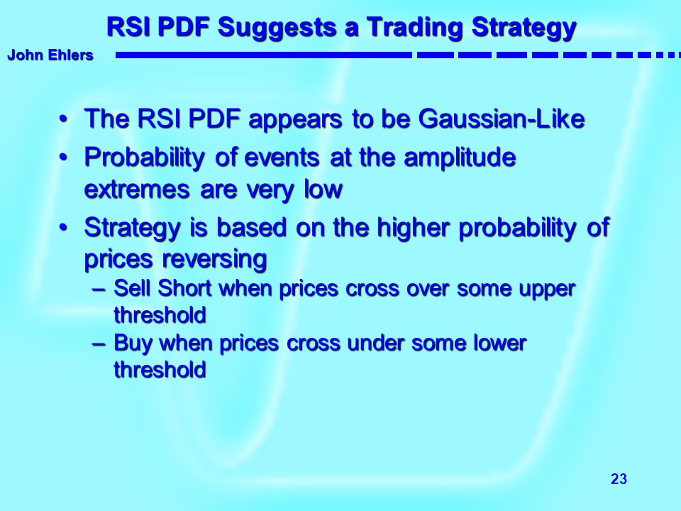 John Ehlers 23 RSI PDF Suggests a Trading Strategy The RSI PDF appears to be Gaussian-LikeThe RSI PDF appears to be Gaussian-Like Probability of event