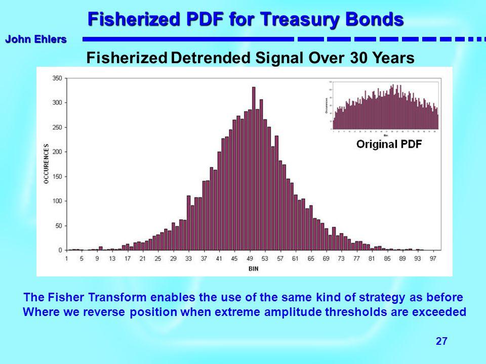 John Ehlers 27 Fisherized PDF for Treasury Bonds Fisherized PDF for Treasury Bonds Fisherized Detrended Signal Over 30 Years The Fisher Transform enab