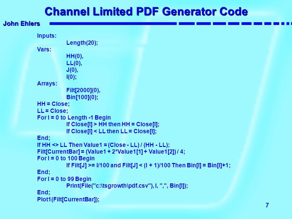 John Ehlers 7 Channel Limited PDF Generator Code Inputs: Length(20); Vars: HH(0), LL(0), J(0), I(0); Arrays: Filt[2000](0), Bin[100](0); HH = Close; L
