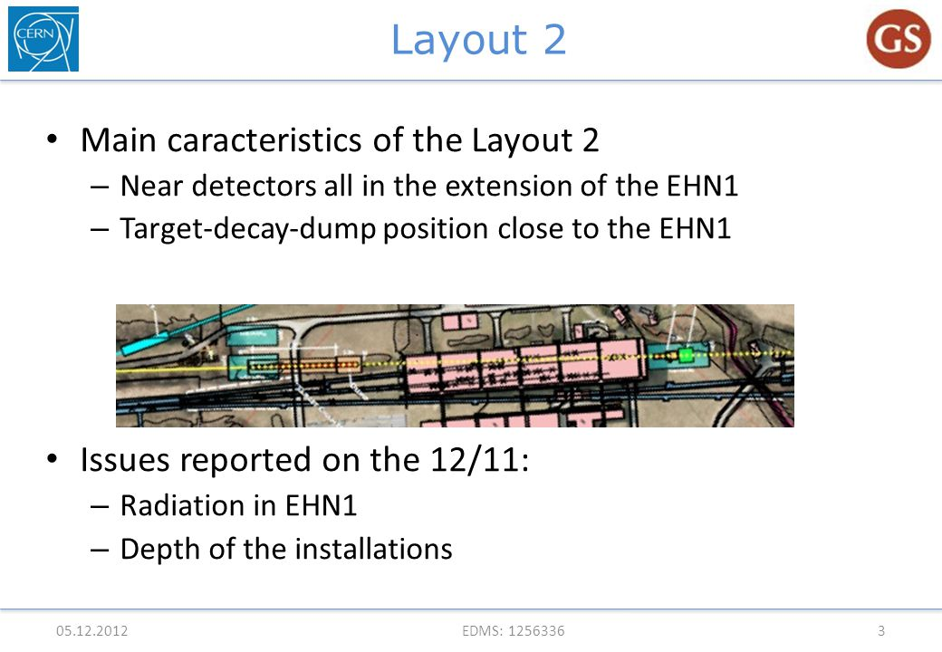 Layout 2 Main caracteristics of the Layout 2 – Near detectors all in the extension of the EHN1 – Target-decay-dump position close to the EHN1 Issues reported on the 12/11: – Radiation in EHN1 – Depth of the installations 05.12.2012EDMS: 12563363