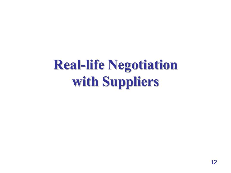 12 Real-life Negotiation with Suppliers