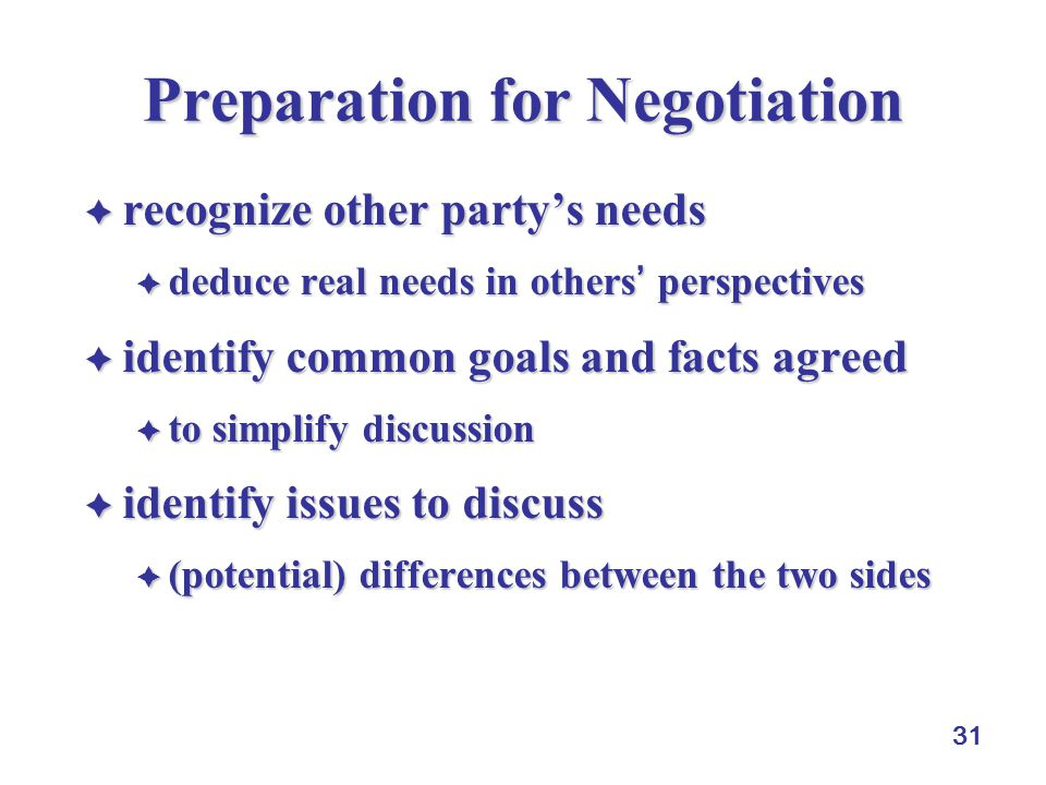 31 Preparation for Negotiation  recognize other party's needs  deduce real needsin others' perspectives  deduce real needs in others' perspectives