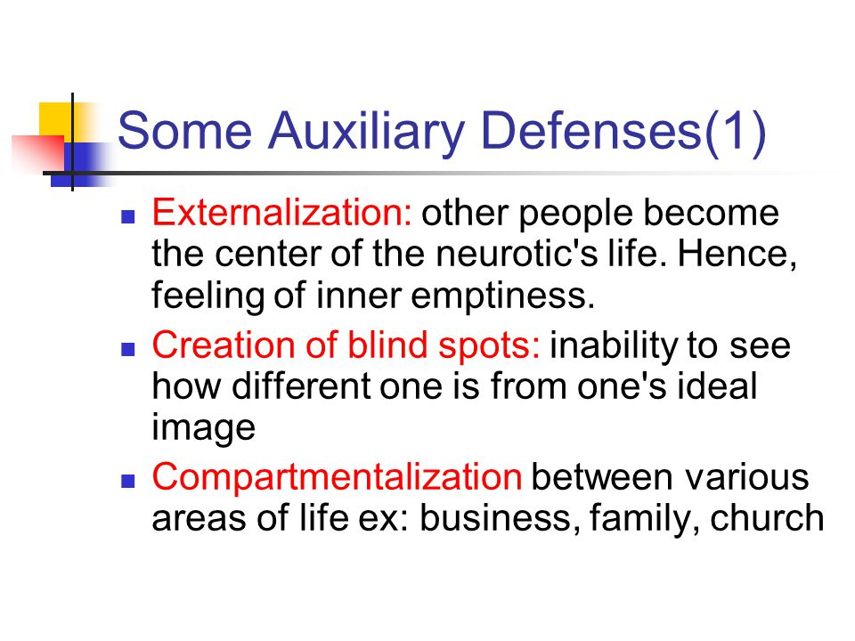 Some Auxiliary Defenses(1) Externalization: other people become the center of the neurotic's life. Hence, feeling of inner emptiness. Creation of blin