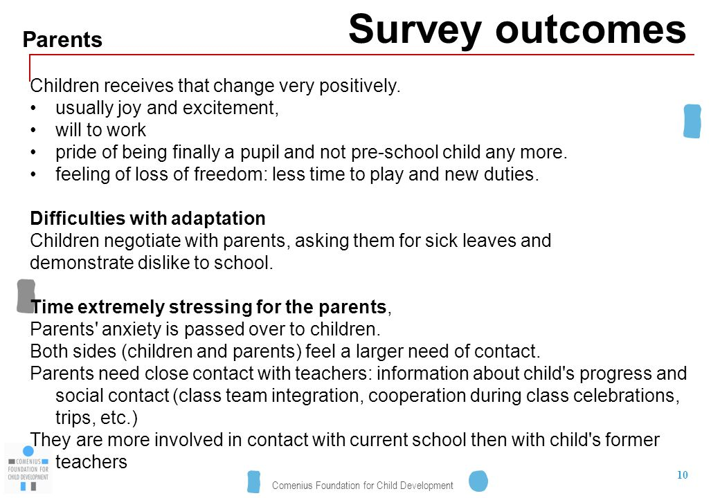 Comenius Foundation for Child Development 10 Survey outcomes Children receives that change very positively.