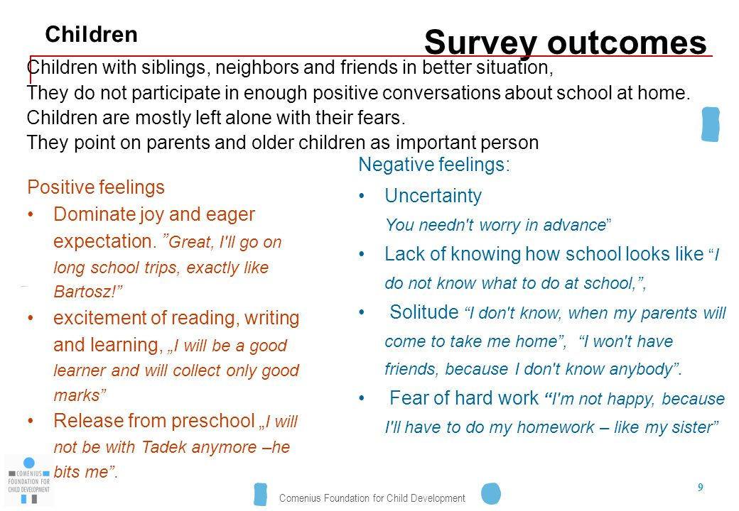 Comenius Foundation for Child Development 9 Survey outcomes Children with siblings, neighbors and friends in better situation, They do not participate in enough positive conversations about school at home.