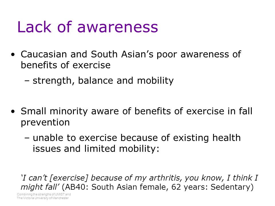 Combining the strengths of UMIST and The Victoria University of Manchester Lack of awareness Caucasian and South Asian's poor awareness of benefits of exercise –strength, balance and mobility Small minority aware of benefits of exercise in fall prevention –unable to exercise because of existing health issues and limited mobility: 'I can't [exercise] because of my arthritis, you know, I think I might fall' (AB40: South Asian female, 62 years: Sedentary)
