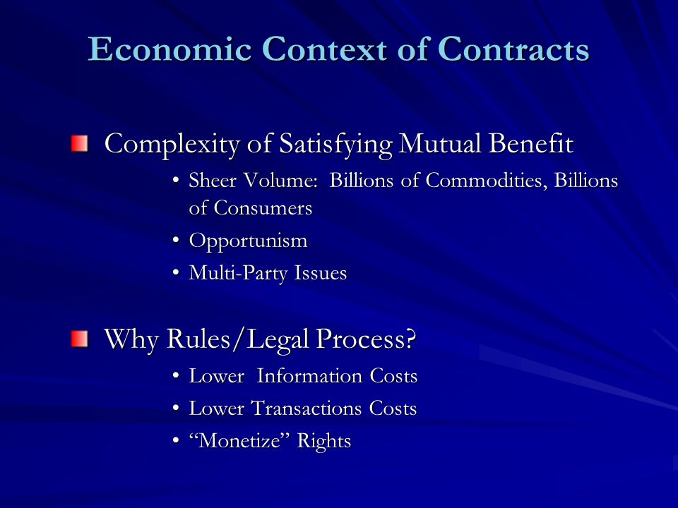 Economic Context of Contracts Complexity of Satisfying Mutual Benefit Sheer Volume: Billions of Commodities, Billions of ConsumersSheer Volume: Billions of Commodities, Billions of Consumers OpportunismOpportunism Multi-Party IssuesMulti-Party Issues Why Rules/Legal Process.