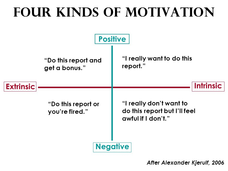 Four Kinds of Motivation Positive Negative Extrinsic Intrinsic Do this report and get a bonus. I really want to do this report. Do this report or you're fired. I really don't want to do this report but I'll feel awful if I don't. After Alexander Kjerulf, 2006