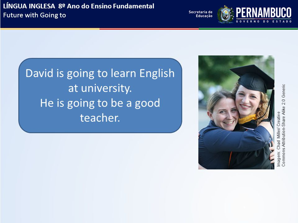 David is going to learn English at university. He is going to be a good teacher. LÍNGUA INGLESA 8º Ano do Ensino Fundamental Future with Going to Imag