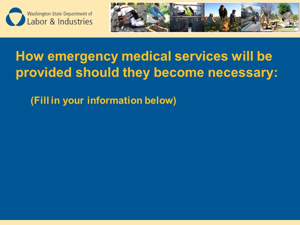How emergency medical services will be provided should they become necessary: (Fill in your information below)