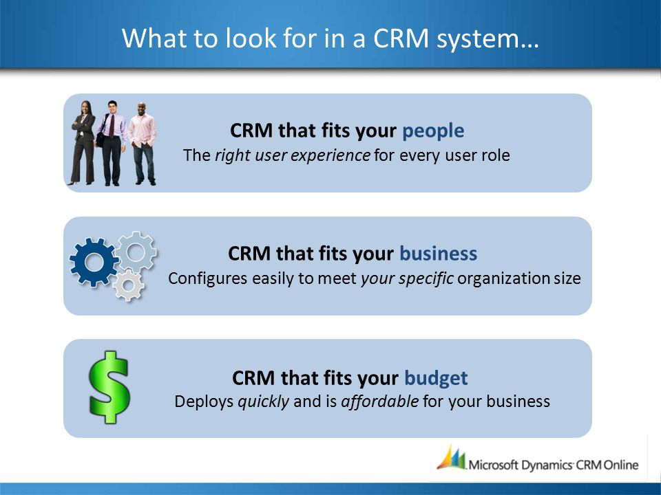 CRM that fits your people The right user experience for every user role What to look for in a CRM system… CRM that fits your business Configures easily to meet your specific organization size CRM that fits your budget Deploys quickly and is affordable for your business