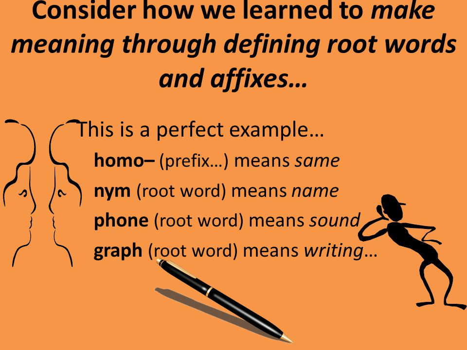 Consider how we learned to make meaning through defining root words and affixes… Combine them and you come up with very close translations that describe their actual function… Homo + Nym = Homonym = Same Name Homo + Phone = Homophone = Same Sound Homo + Graph = Homograph = Same Writing