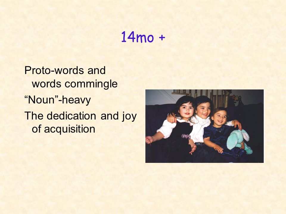 14mo + Proto-words and words commingle Noun -heavy The dedication and joy of acquisition