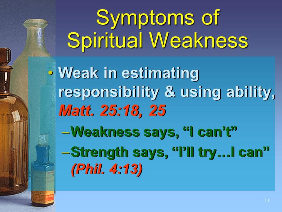 11 Symptoms of Spiritual Weakness Weak in estimating responsibility & using ability, Matt.