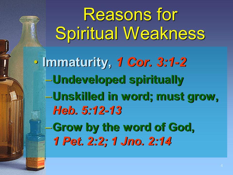 4 Reasons for Spiritual Weakness Immaturity, 1 Cor.