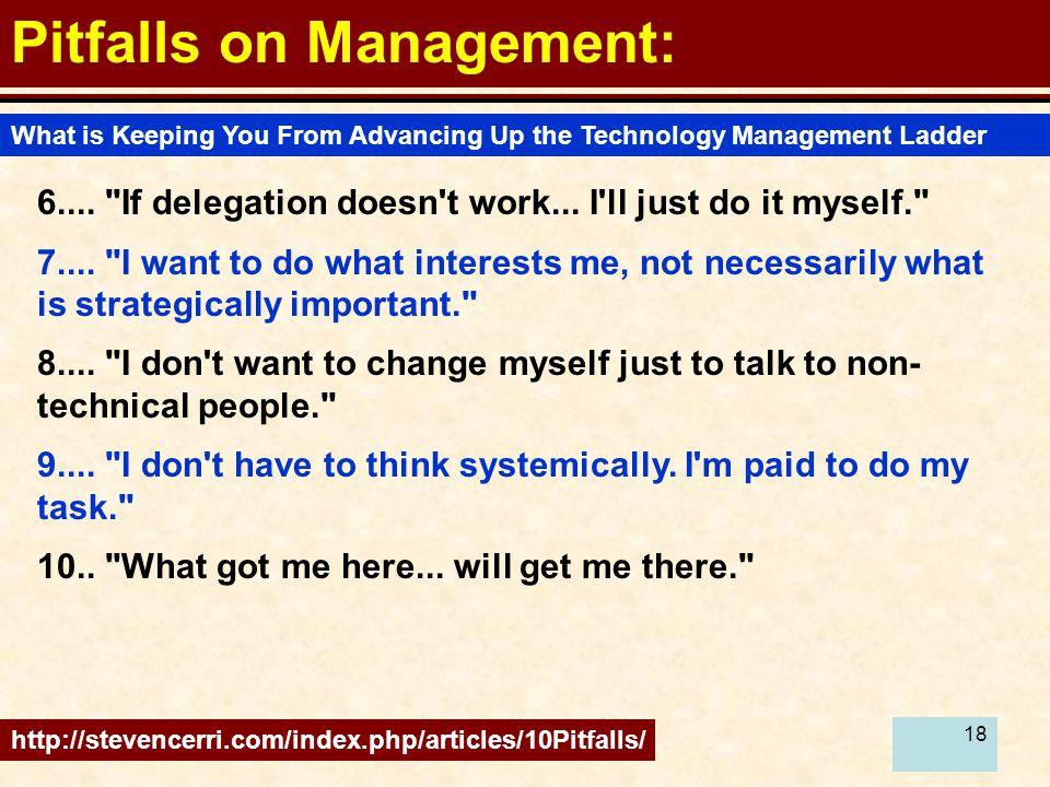 18 Pitfalls on Management: 6....