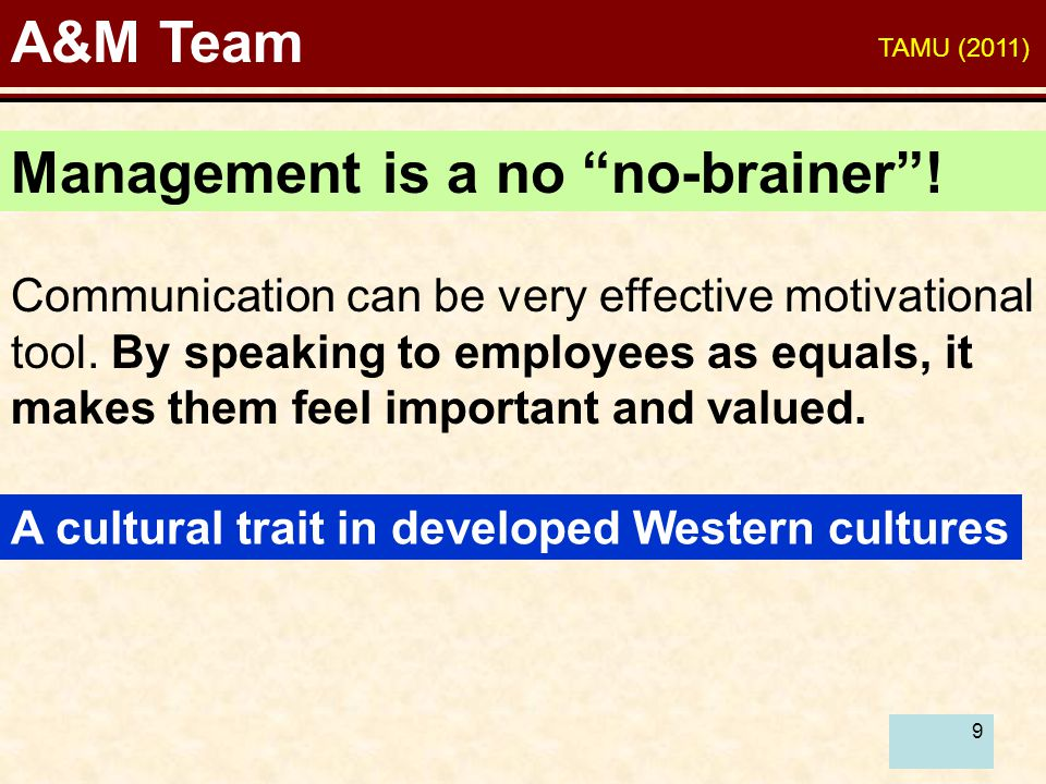 9 A&M Team Communication can be very effective motivational tool.