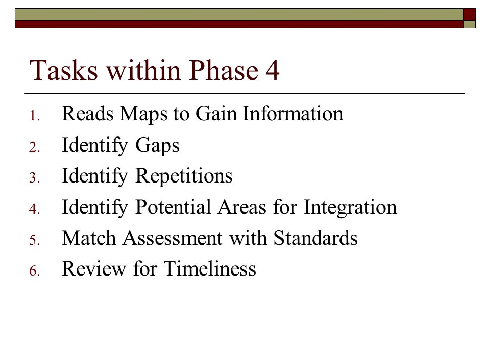 Tasks within Phase 4 1. Reads Maps to Gain Information 2. Identify Gaps 3. Identify Repetitions 4. Identify Potential Areas for Integration 5. Match A