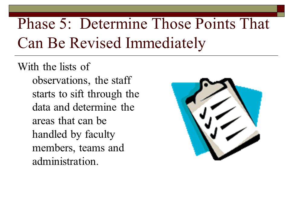 Phase 5: Determine Those Points That Can Be Revised Immediately With the lists of observations, the staff starts to sift through the data and determin