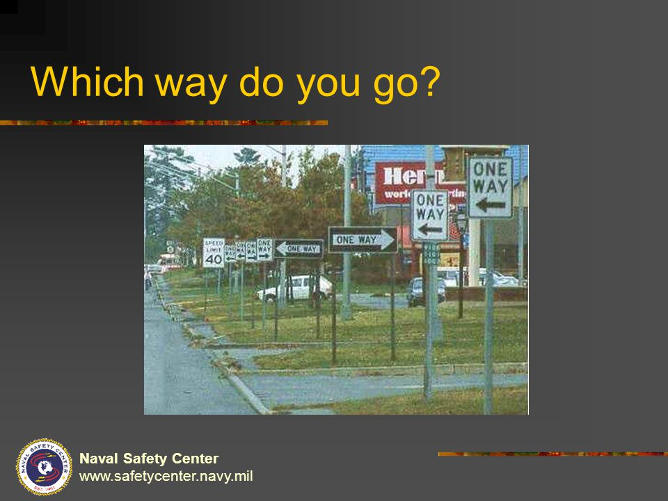 Naval Safety Center www.safetycenter.navy.mil Which way do you go?