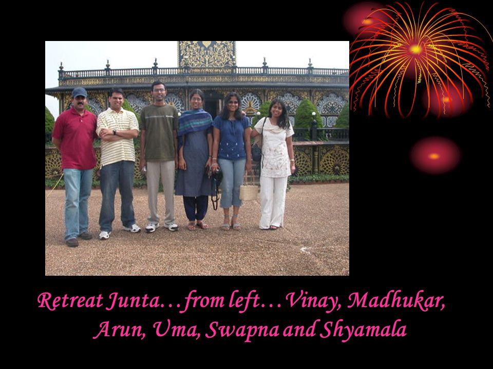 Retreat Junta…from left…Vinay, Madhukar, Arun, Uma, Swapna and Shyamala