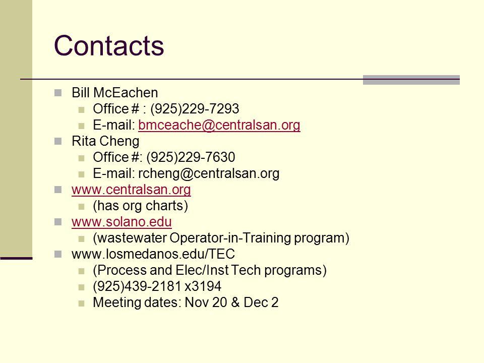 Contacts Bill McEachen Office # : (925)229-7293 E-mail: bmceache@centralsan.orgbmceache@centralsan.org Rita Cheng Office #: (925)229-7630 E-mail: rcheng@centralsan.org www.centralsan.org (has org charts) www.solano.edu (wastewater Operator-in-Training program) www.losmedanos.edu/TEC (Process and Elec/Inst Tech programs) (925)439-2181 x3194 Meeting dates: Nov 20 & Dec 2
