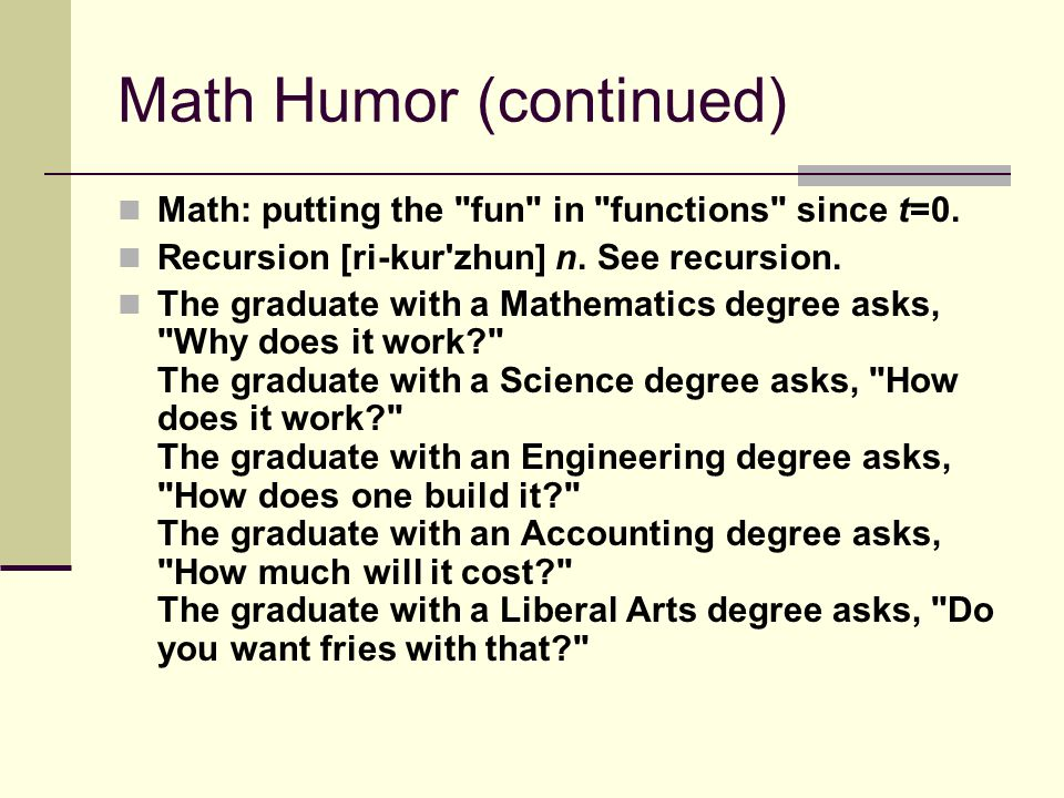 Math Humor (continued) Math: putting the fun in functions since t=0.