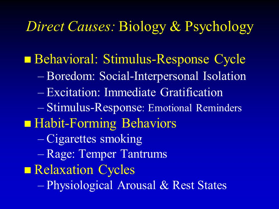 Direct Causes: Biology & Psychology Behavioral: Stimulus-Response Cycle – –Boredom: Social-Interpersonal Isolation – –Excitation: Immediate Gratificat