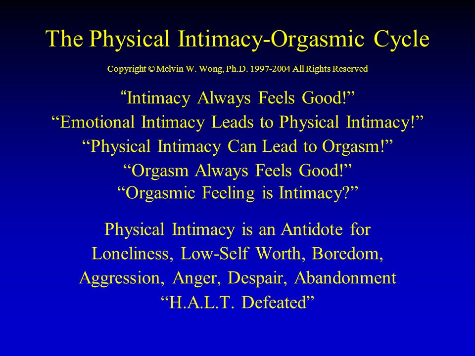 "The Physical Intimacy-Orgasmic Cycle Copyright © Melvin W. Wong, Ph.D. 1997-2004 All Rights Reserved ""Intimacy Always Feels Good!"" ""Emotional Intimacy"