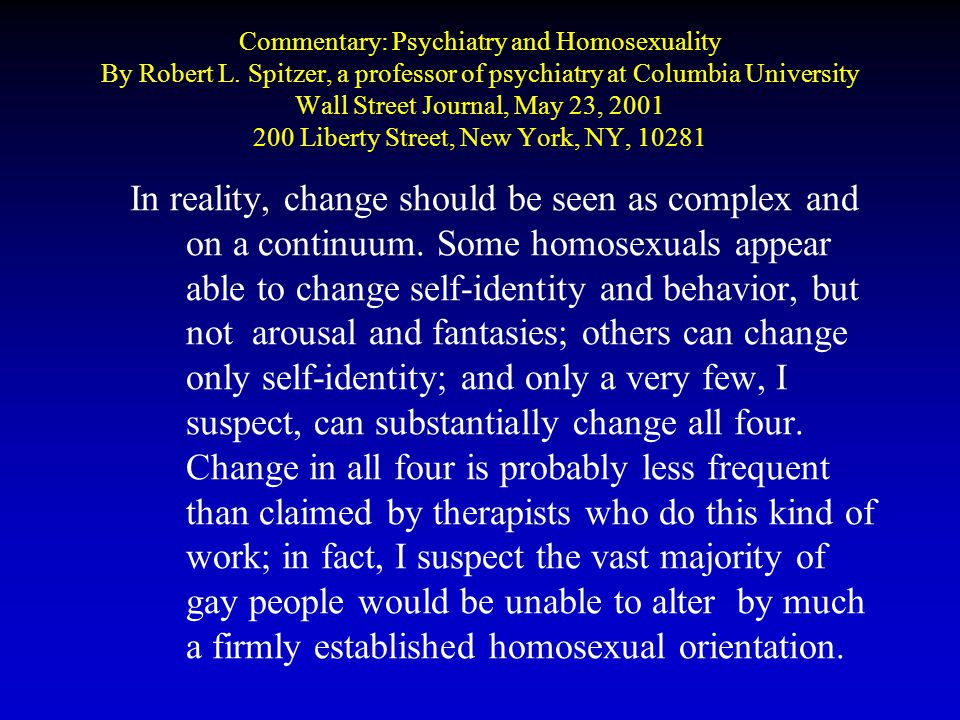 Commentary: Psychiatry and Homosexuality By Robert L.