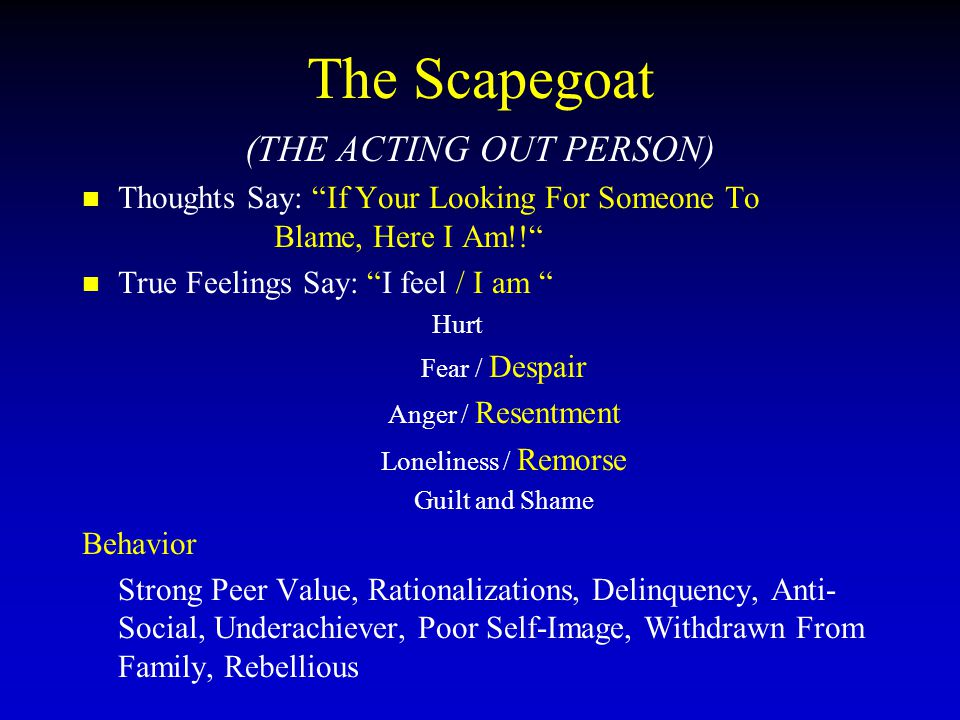 "The Scapegoat (THE ACTING OUT PERSON) Thoughts Say: ""If Your Looking For Someone To Blame, Here I Am!!"" True Feelings Say: ""I feel / I am "" Hurt Fear"