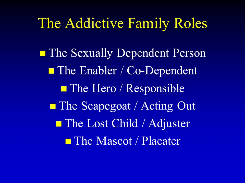 The Addictive Family Roles The Sexually Dependent Person The Enabler / Co-Dependent The Hero / Responsible The Scapegoat / Acting Out The Lost Child / Adjuster The Mascot / Placater