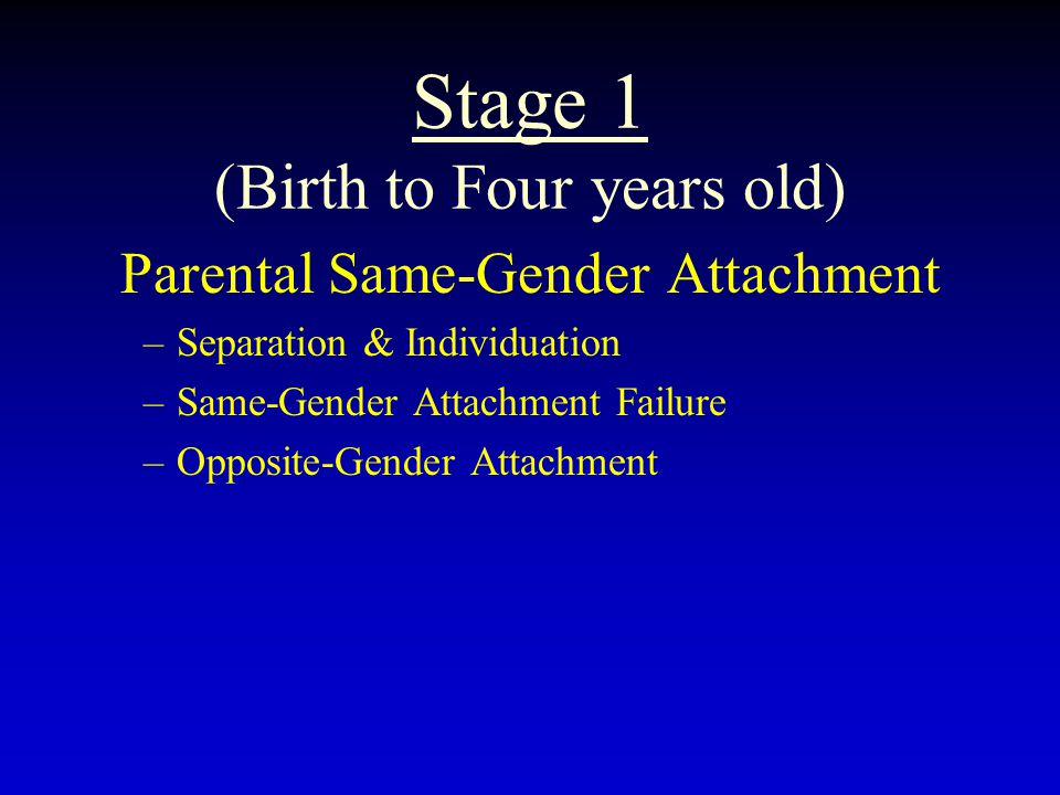 Stage 1 (Birth to Four years old) Parental Same-Gender Attachment –Separation & Individuation –Same-Gender Attachment Failure –Opposite-Gender Attachment