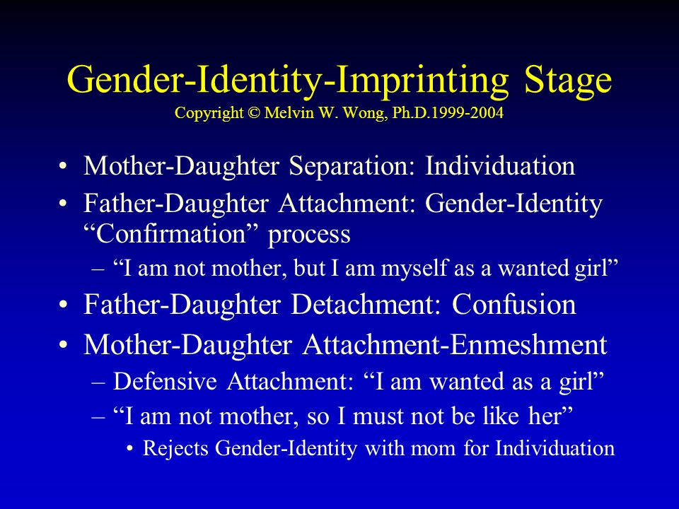 Gender-Identity-Imprinting Stage Copyright © Melvin W. Wong, Ph.D.1999-2004 Mother-Daughter Separation: Individuation Father-Daughter Attachment: Gend