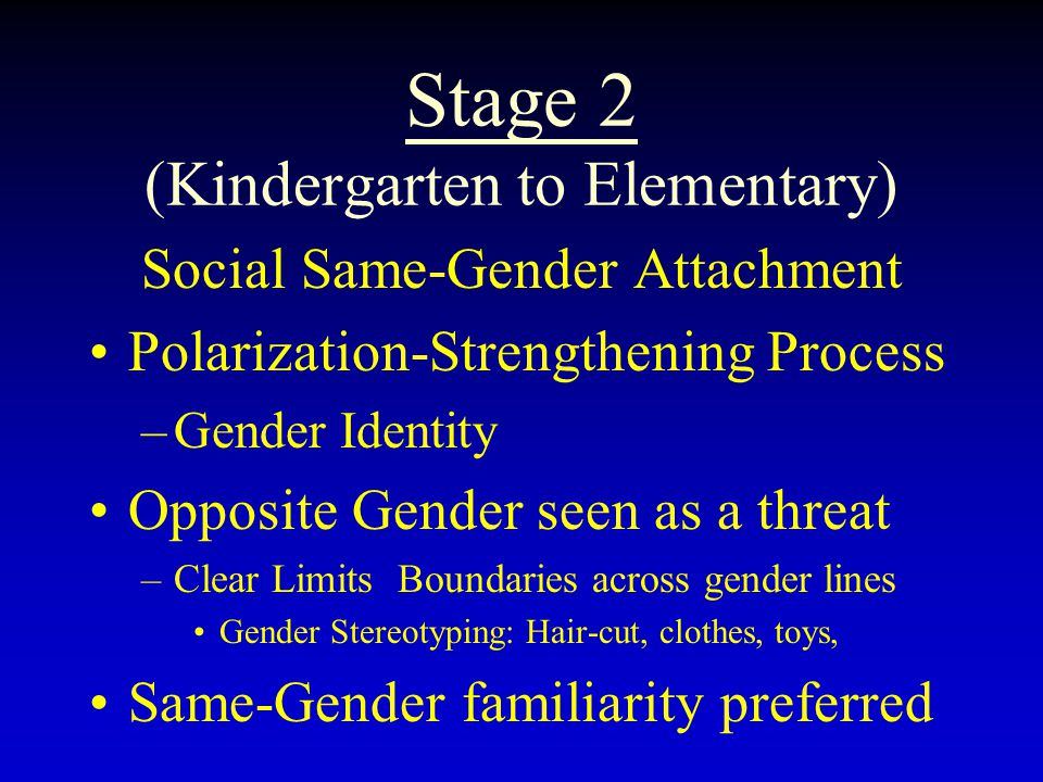 Stage 2 (Kindergarten to Elementary) Social Same-Gender Attachment Polarization-Strengthening Process –Gender Identity Opposite Gender seen as a threa