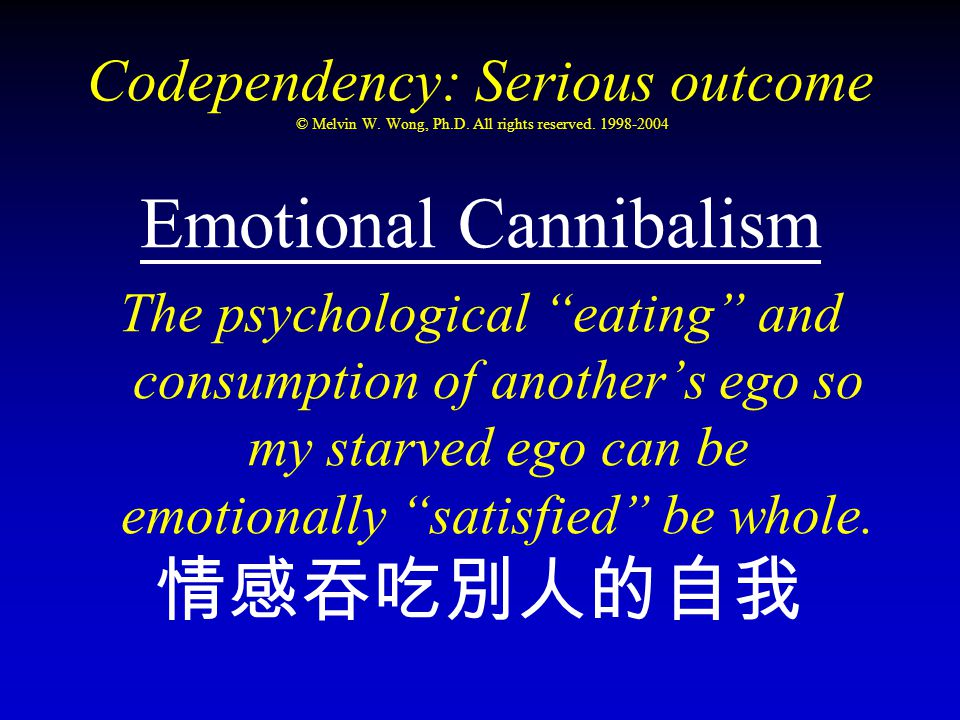 "Codependency: Serious outcome © Melvin W. Wong, Ph.D. All rights reserved. 1998-2004 Emotional Cannibalism The psychological ""eating"" and consumption"