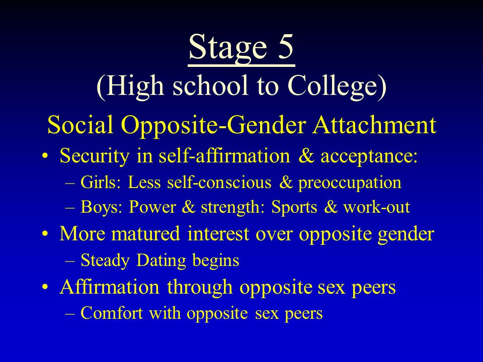 Stage 5 (High school to College) Social Opposite-Gender Attachment Security in self-affirmation & acceptance: –Girls: Less self-conscious & preoccupation –Boys: Power & strength: Sports & work-out More matured interest over opposite gender –Steady Dating begins Affirmation through opposite sex peers –Comfort with opposite sex peers