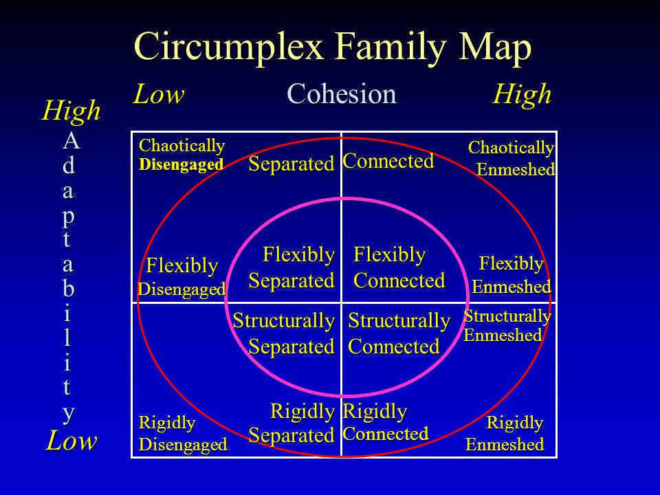Circumplex Family Map Low Cohesion High HighLow AdaptabilityAdaptabilityAdaptabilityAdaptability Flexibly Connected Structurally Connected Flexibly Separated Structurally Separated Connected Flexibly Enmeshed Rigidly Connected Structurally Enmeshed Separated Flexibly Disengaged Rigidly Separated Chaotically Enmeshed Rigidly Enmeshed Chaotically Disengaged Rigidly Disengaged