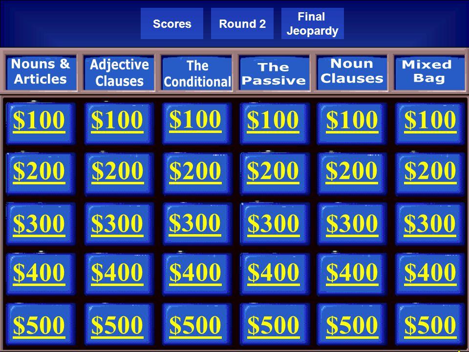 Team 4Team 5 Team 6 Team 1Team 2Team 3 Round 2 Final Jeopardy Round 1