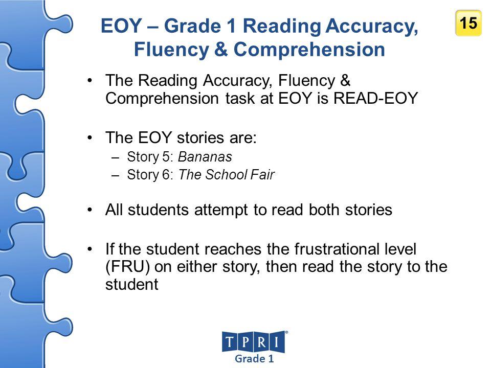 Grade 1 15 EOY – Grade 1 Reading Accuracy, Fluency & Comprehension The Reading Accuracy, Fluency & Comprehension task at EOY is READ-EOY The EOY stori