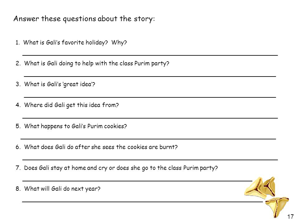 17 Answer these questions about the story: 1. What is Gali's favorite holiday.